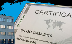 IMT Analytics is certified according to ISO 13485 by DEKRA